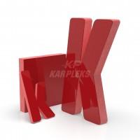 Kırmızı 2cm Kalınlığında Karpleks Işıksız Harf