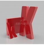 Kırmızı 4cm Kalınlığında Karpleks Işıksız Harf