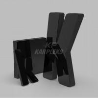 Siyah 4cm Kalınlığında Karpleks Işıksız Harf