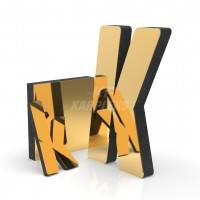 Gold 4cm Kalınlığında Karpleks Işıksız Harf