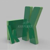 Yeşil 4cm Kalınlığında Karplex Işıksız Harf