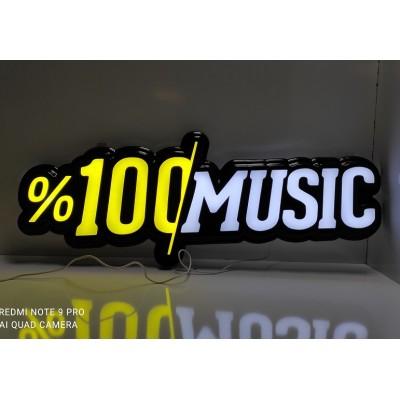 Müzik Led Tabela - 100 de 100 Music Işıklı Hazır Tabela - %100 Music